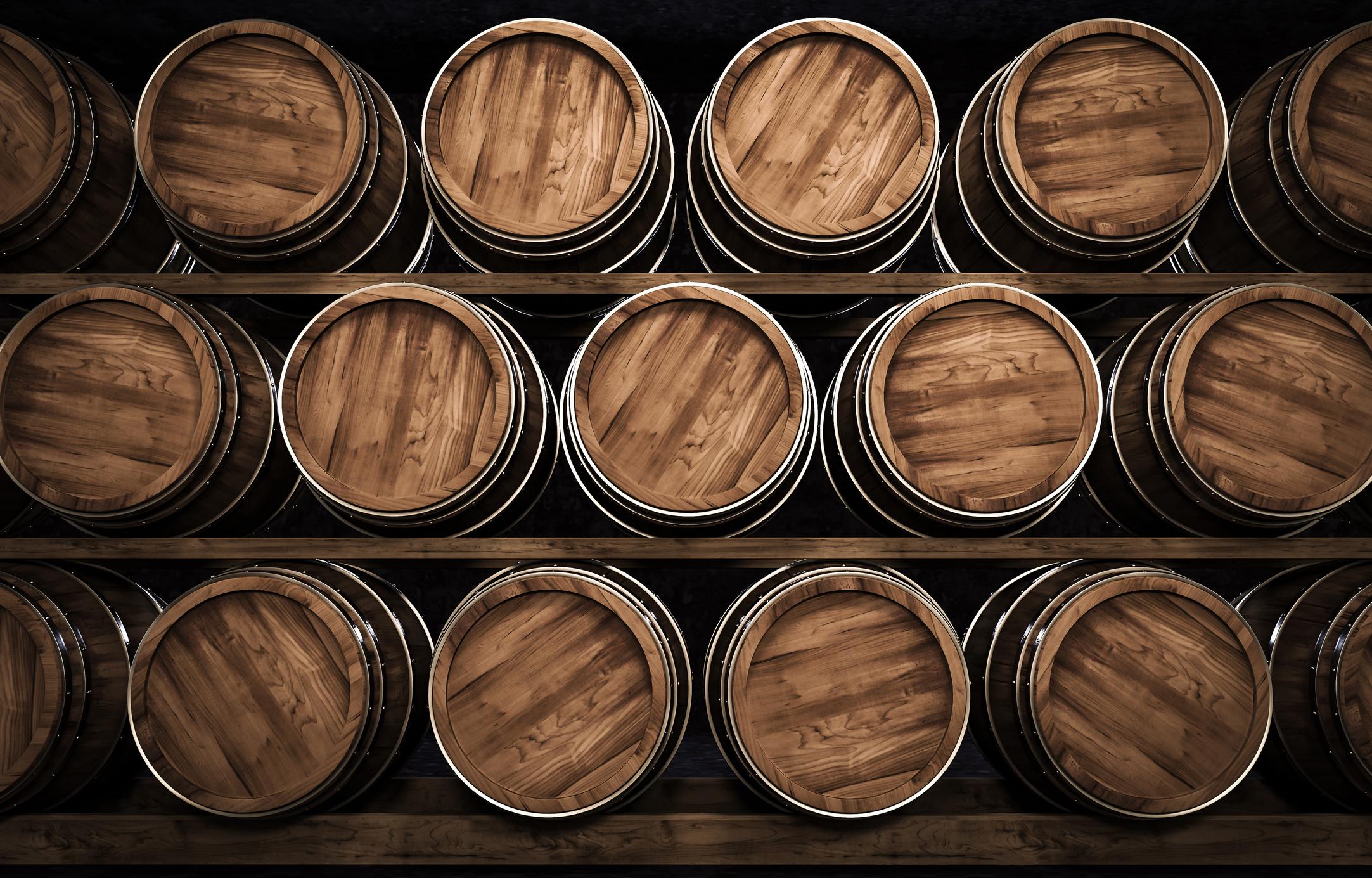 aging-wine-barrels